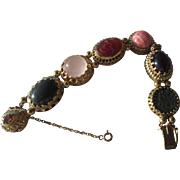 Sterling Silver/Vermeil Finish Artisan Vintage Inspired Multi Gemstone Slide Bracelet