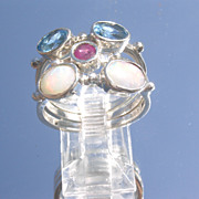 Sterling Blue Topaz/Opal/Ruby Stacking Rings