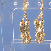 SOLD Sterling Vermeil Finish Emerald/Pearl/Opal/Ruby Slide Dangle Earring