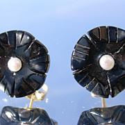 14kt Carved Black Onyx/Seed Pearl Stud Earrings