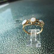 9kt Yellow Gold Triple Fiery Opal Ladies Ring