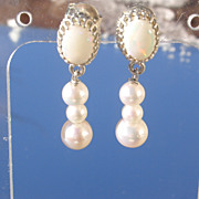Sterling White Opal and Multi Freshwater Pearl Dangle Earrings