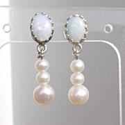 SOLD Sterling Dark Blue Opal/Freshwater Pearl Dangle Earrings