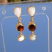 14kt Multi Opal/Garnet Dangle Earrings