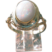 9kt Yellow Gold/Light Blue Fiery Opal and Multi Diamond Ladies Ring