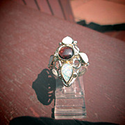 Sterling SIlver/9kt Ocular Shape Multi Pear Shape Opal and Round Almandine Garnet Ladies Ring
