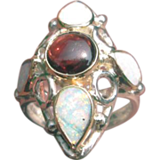 Sterling SIlver/9kt Ocular Shape Multi Pear Shape Opal and Round Almandine Garnet Ladies Ring