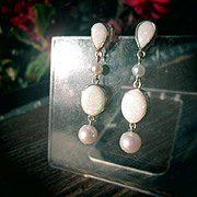 SOLD 14kt Vivacious Dangle Multi Opal/Freshwater Pearl Earrings