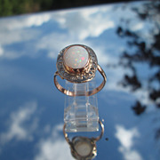 9kt Pink and White Gold Fiery Opal/Multi Diamond Ladies Ring