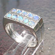 Sterling Multi Opal Rectangular Double Stacking Rings
