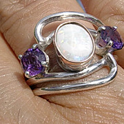 Sterling/9kt Gold Wire Wrap Opal and Amethysts Ladies Ring
