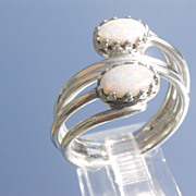 Sterling Fiery Double Opal Wrap Around Ladies Ring