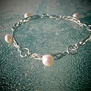 Freshwater Pearl Multi Link Sterling Ladies Bracelet