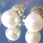 Sterling/14kt Freshwater Pearl Stud Earrings