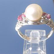 Sterling Freshwater Pearl/Pink Tourmaline Ladies Ring