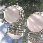Sterling/14kt Large Rose Quartz Stud Earrings