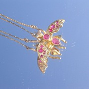 10kt-9kt Multi Ruby/Diamond Insect (FLY) Necklace