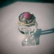 Sterling Silver/9kt Yellow Gold Linde Star Ruby/Multi Ruby and Diamond Ladies Ring