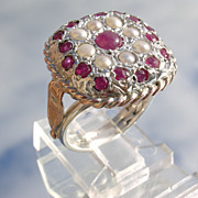 Sterling/9ct Square Setting Multi Ruby/Seed Pearl Ladies Ring