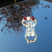 Sterling White Opal and Synthetic Bright Red Rubies Ladies Ring