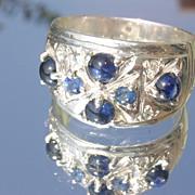 Sterling Multi Sapphire/Diamond Ladies Band/Ring
