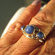Sterling/9kt Pink Gold Triple Lindy Star/Multi Diamond Ladies Artisan Ring