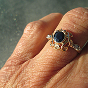 9-14kt Yellow/White Gold Sapphire/Multi Diamond Ladies Artisan Ring