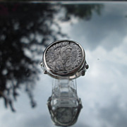 Sterling Coin of Greek or Roman Male Side Profile Artisan Unisex Ring