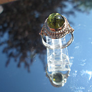 Sterling/9kt Pink Gold Natural Inclusions Green Tourmaline Ladies RIng