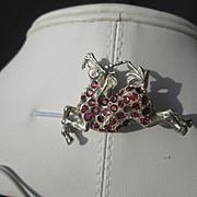 Sterling Silver Pink Tourmaline Unicorn Brooch/Pendant