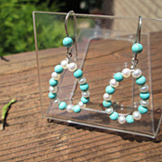 Sterling Turquoise & Freshwater Pearl Dangle Earrings