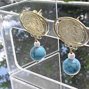 SALE Sterling/Vermeil Etched Roman Emperor Turquoise/Pearl Dangle Earrings