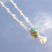 Sterling Turquoise Pendant with Freshwater Pearl Pendant