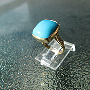 9kt Yellow Gold Square Turquoise and Diamond Artisan Ladies Ring