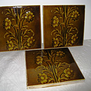 Three California Pottery Art Pottery Floral Tiles