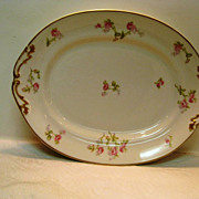 Limoges Rose Decorated Handled Platter