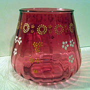 Enameled Cranberry Ribbed Bowl or Vase