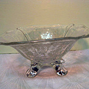 Elegant Depression Glass Rose Point Footed Bowl