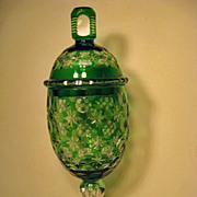 Bohemian Cut Glass Green to Clear Pokal
