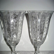 Two Cambridge Rose Point Footed Water Goblets