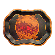 Hand Painted Hunt Scene Metal Tole Tray