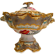 Hand Painted Limoges Footed Covered Two Handled Fruit compote