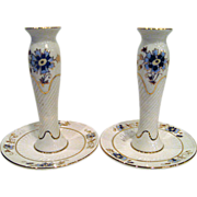 Pair Hand Painted Floral Zsolnay Candlesticks Candle Holders