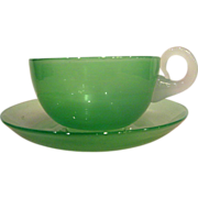 Steuben Jade Cup and Saucer with Alabaster Handle