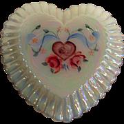 Hand Painted Fenton Rose Heart Shaped Trinket Box
