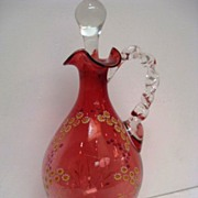 Hand Painted Cranberry Floral Decorated Hand Blown Ewer