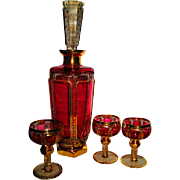 Moser Hand Blow Gold Gilt Cranberry Decanter Set with Bride and Groom and Priests Goblets