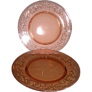 Two RARE Cambridge Pink Elegant Depression Glass Byzantine Number 520 Dinner Plates