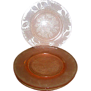 SOLD Four Pink Dogwood  Depression Glass Plates