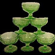 Six Green Depression Glass Cameo, Ballerina Sherbets